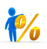 Percent. Abstract blue figure holds  big golden percent sign Stock Images