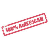 100 Percent American inscription in red frame. One hundred percent American rubber stamp. Vector sticker with distressed effect. Rough watermark for product Stock Photo