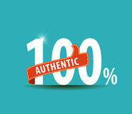 100 percent authentic flat design typography graphic. Eps10 Stock Image