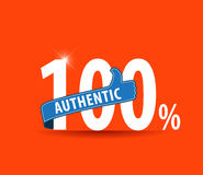 100 percent authentic flat typography graphic design Stock Photos