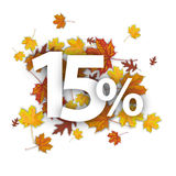 15 Percent Autumn Foliage. 15 with percent and foliage on the white Royalty Free Stock Image