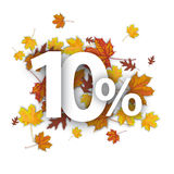 10 Percent Autumn Foliage. 10 with percent and foliage on the white Royalty Free Illustration