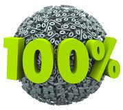 100 Percent Ball Sphere Complete Total Perfect Score Rating. 100 percent number and symbol on a ball of percentage signs to illustrate a complete or total job or Royalty Free Stock Image