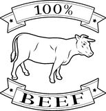 100 percent beef label. 100 percent beef food icon of a cow in a stamp style Royalty Free Stock Photos
