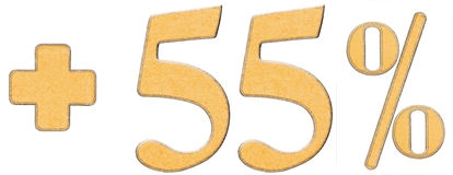 Percent benefits, plus 55 fifty five percent, numerals isolated Stock Photo