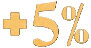 Percent benefits, plus 5 five percent, numerals isolated on whit Stock Photo