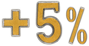 Percent benefits, plus 5 five percent, numerals isolated on whit Stock Photos