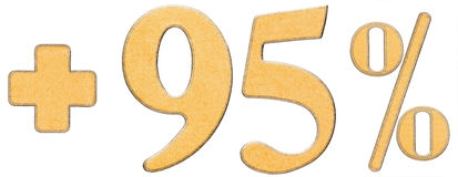 Percent benefits, plus 95 ninety five percent, numerals isolated. On white background Stock Images