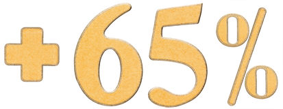 Percent benefits, plus 65 sixty five percent, numerals isolated Stock Photo