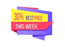30 Percent Best Price This Week Promotion Card. Vector illustration of multicolored template with advertising messages isolated on white background Royalty Free Stock Images