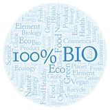 100 Percent Bio word cloud. Wordcloud made with text only vector illustration