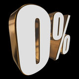 0 percent on black background. 3d render illustration Royalty Free Stock Images