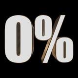 0 percent on black background. 3d render illustration Royalty Free Stock Photos