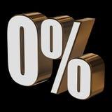 0 percent on black background. 3d render illustration Stock Images