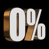 0 percent on black background. 3d render illustration stock illustration