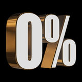 0 percent on black background. 3d render illustration Stock Photography
