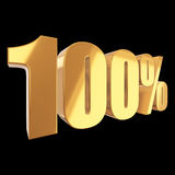 100 percent on black background. Gold 100 percent on black background. 3d render illustration Royalty Free Stock Images