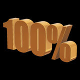 100 percent on black background. Gold 100 percent on black background. 3d render illustration Stock Photo