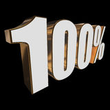 100 percent on black background. One hundred percent on black background. 3d render illustration Royalty Free Stock Image
