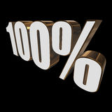 100 percent on black background. One hundred percent on black background. 3d render illustration Royalty Free Stock Images