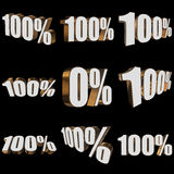 100 percent on black background. One hundred percent set on black background. 3d render illustration Stock Photos