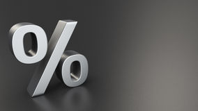 Percent on black. Metal percent sign on black background with copyspace Royalty Free Stock Image