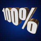 100 percent on blue background. 3d render illustration Royalty Free Stock Images
