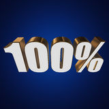 100 percent on blue background. 3d render illustration Stock Photos