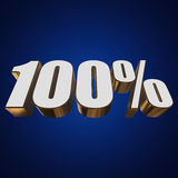 100 percent on blue background. 3d render illustration Stock Image