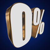0 percent on blue background. 3d render illustration Stock Photography