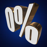 0 percent on blue background. 3d render illustration Royalty Free Stock Photography