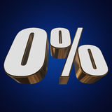 0 percent on blue background. 3d render illustration Royalty Free Stock Photos