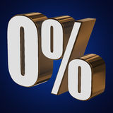 0 percent on blue background. 3d render illustration Royalty Free Stock Photo