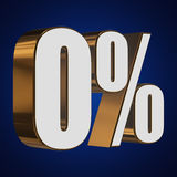 0 percent on blue background. 3d render illustration Royalty Free Stock Image