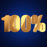 100 percent on blue background. One hundred percent on blue background. 3d render illustration Royalty Free Stock Image