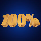 100 percent on blue background Royalty Free Stock Photos