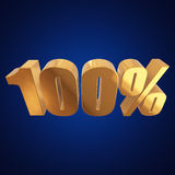 100 percent on blue background Royalty Free Stock Photo