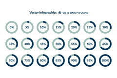 Percent blue Circle Charts. Percentage vector Stock Photography