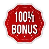 100 percent bonus label or sticker. On white background, vector illustration vector illustration