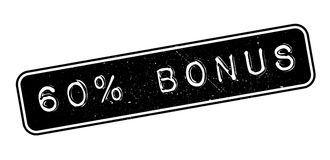 60 percent bonus rubber stamp. On white. Print, impress, overprint Stock Photos
