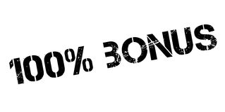 100 percent bonus rubber stamp. On white. Print, impress, overprint Stock Photos