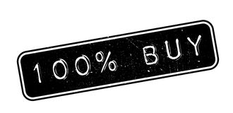 100 percent buy rubber stamp. On white. Print, impress, overprint stock illustration