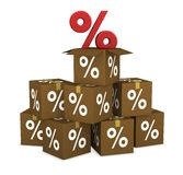 Percent cardboard boxes Royalty Free Stock Photography