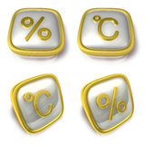 Percent and Celsius 3d metalic square Symbol button . 3D Icon De Royalty Free Stock Image