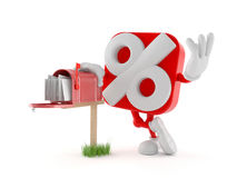 Percent character with mailbox Stock Photo