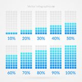 10 20 30 40 50 60 70 80 90 percent chart symbols. Percentage vector infographic icons for business, download, design. 10 20 30 40 50 60 70 80 90 percent chart Royalty Free Stock Photo