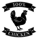 100 percent chicken food label. 100 percent chicken food icon of a chicken in a stamp style stock illustration