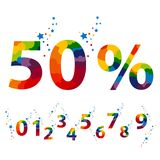 50 percent. Color numbers for Promotional Poster Design. Vector Illustration Royalty Free Stock Photos