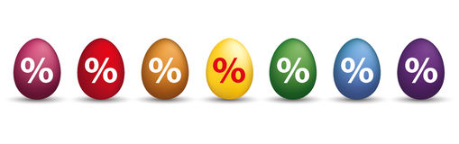 8 Percent Colored Easter Eggs Header. 8 colored easter eggs with percents on the white Royalty Free Stock Image
