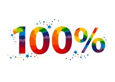 100 percent. colored text for your advertising. Vector Stamp Illustration Royalty Free Stock Photography